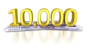 500 Euro banknotes. Some 500 Euro banknotes with the number 10000 Royalty Free Stock Photography