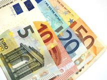 Euro banknotes. Some small euro banknotes are spread Stock Photography