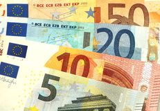 Euro banknotes. Some small euro banknotes are spread Royalty Free Stock Photography