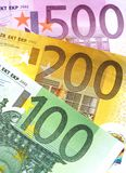 Euro banknotes. Some euro banknotes are spread stock image