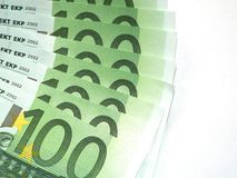Euro banknotes. Some 100 euro banknotes are spread Royalty Free Stock Photo