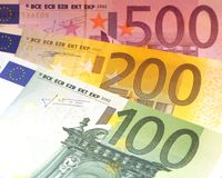 Euro banknotes. Some euro banknotes are spread royalty free stock images