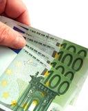 Euro banknotes. Some 100 euro banknotes are spread Stock Photo