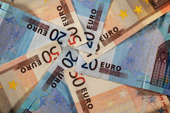 Euro banknotes. A spiral of twenty and fifty euro banknotes Royalty Free Stock Image