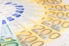 Euro banknotes  spread over the floor - European currency Stock Images