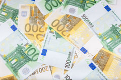 Euro banknotes  spread over the floor - European currency Stock Photo
