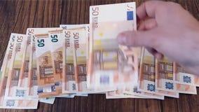 Euro banknotes. Spreading banknotes stock video
