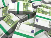 Euro banknotes. Stack of euro banknotes isolated on white background Stock Images
