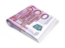 500 euro banknotes stacks. 3d render Five hundred euro banknotes stacks  and clipping path Stock Photos