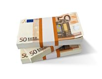 Euro banknotes. Stacks with Euro banknotes isolated on white Royalty Free Stock Image