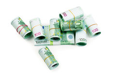 Euro banknotes in stacks and rolls isolate Royalty Free Stock Images