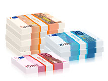 Euro banknotes stacks. On a white background Stock Illustration