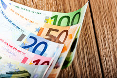 Euro banknotes on table Royalty Free Stock Photo