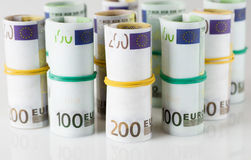 Euro banknotes in  tubes Royalty Free Stock Photo