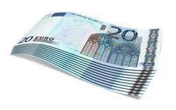 20 Euro banknotes. Twenty Euro banknotes close-up (isolated on white and clipping path Royalty Free Stock Images