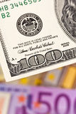 Euro banknotes and U.S. Stock Images