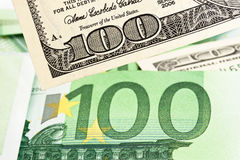 Euro banknotes and U.S. dollar Royalty Free Stock Photography