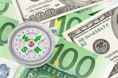 Euro banknotes and U.S. dollar Royalty Free Stock Image