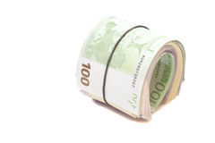 Euro banknotes under rubber band Royalty Free Stock Images