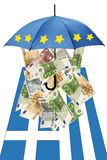 Euro banknotes under umbrella with greek flag Royalty Free Stock Images