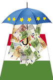Euro banknotes under umbrella with italian flag Stock Image