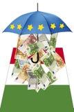Euro banknotes under umbrella with italian flag Stock Image