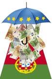 Euro banknotes under umbrella with portuguese flag Stock Photos