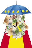Euro banknotes under umbrella with spanish flag Stock Image