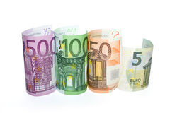 Euro banknotes of various denominations on a white background Stock Photography