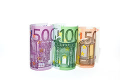 Euro banknotes of various denominations on a white background Stock Photos