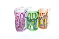 Euro banknotes of various denominations on a white background Royalty Free Stock Photo