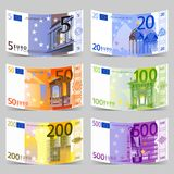 Euro banknotes. Vector Euro banknotes icon set Stock Images
