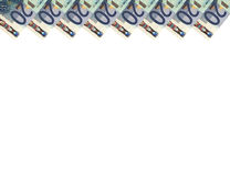 Euro banknotes.Vertical background.20.Top. Stock Photos
