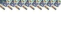 Euro banknotes.Vertical background.20.Top. Stock Photos