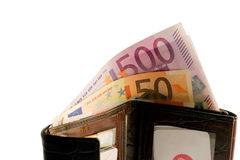 Euro banknotes in a wallet Royalty Free Stock Photo