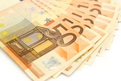 Euro banknotes on white background Stock Photo