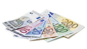 Euro banknotes on white background Royalty Free Stock Photography