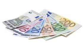 Euro banknotes on white background. Euro bills on white background Royalty Free Stock Photography
