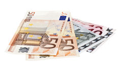 Euro banknotes on white background Royalty Free Stock Images