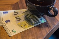 Euro banknotes, bill checking or Money tips. Royalty Free Stock Images