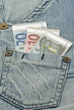 Euro banknotes and worn jeans Royalty Free Stock Image