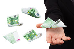 Euro Banknotes on Young Business Woman Stock Image