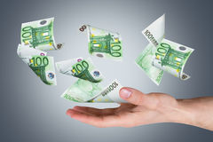 Euro Banknotes on Young Male Hand Stock Image