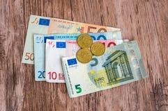 Euro banknoty i euro monety Zdjęcie Stock