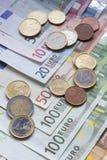 Euro banknoty i monety zdjęcie royalty free