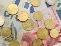 Euro banknoty i monety Fotografia Stock