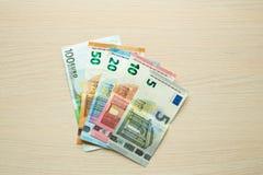 Euro banknoty na stole fotografia royalty free