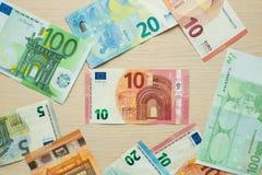 Euro banknoty na stole obraz royalty free