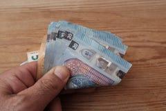 Euro banknoty w ręce zdjęcie royalty free