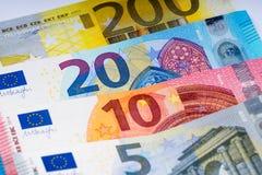 Euro banknoty w rzędzie zdjęcia stock
